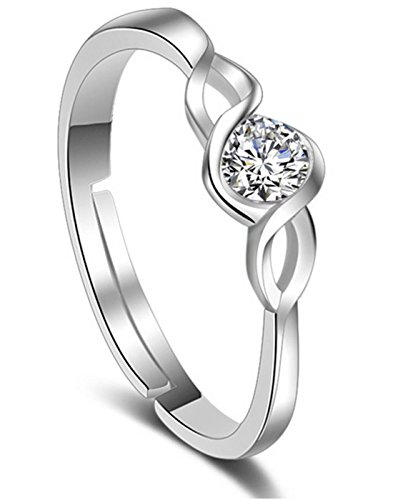 Karatcart Platinum Plated Elegant Classic Crystal Adjustable Ring For Women