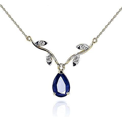 QP gioiellieri naturale zaffiro e diamante Ciondolo Collana in oro 9kt, taglio a pera–2406y
