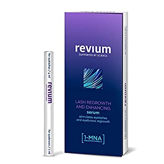 Revium – Superacondicionador para el crecimiento de las pestañas y las cejas poco pobladas, con 1-metilnicotinamida, biotinil-GHK, pro-vitamina B5, 11 ml