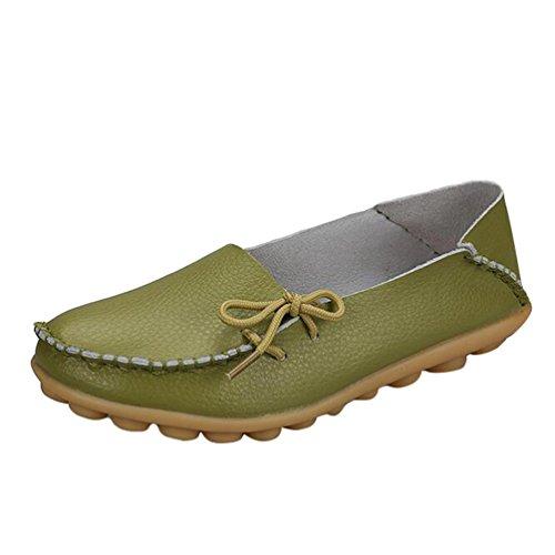 Heheja Damen Freizeit Flache Schuhe Low-top Mokassin Loafers Erbsenschuhe Grün