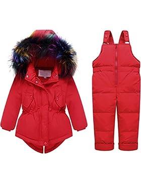 Kinder Set Daunenjacke mit Kaputze Bekleidungsset Baby Kinder Junge Mädchen Verdickte Winterjacke + Winterhose...
