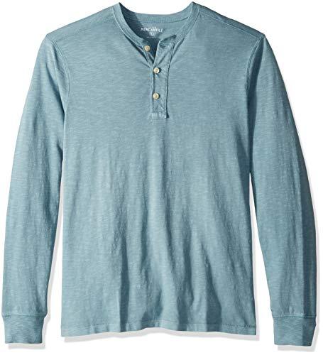 Garment Dyed Crew Shirt (J.Crew Mercantile Herren Long-Sleeve Garment-Dyed Henley Shirt, Saltwater Blue, X-Groß)