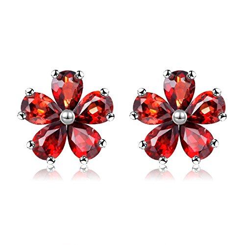 Uloveido Mädchen Sterling Silber Granat Blume Ohrstecker Hochzeit Schmuck für Frauen mit 5 Red Stone Crystal CR003