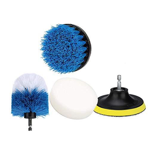 Yncc 4 Stück Drill Brush, Power Scrubber Reinigungsbürste Tub Cleaner Combo Tool Kit, Power Scrubbing Auto Bürste(Gelbe Bürstenplatte, weiß + blau 3,5 Zoll, 4 Zoll himmelblau, weißer Wachsschwamm) -
