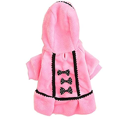 Angelof Hiver Pet Chien Chiot Chaud Pull à Capuche Bow Coton Doux Manteau VêTements Outwear (M, Rose)