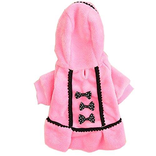 Angelof Hiver Pet Chien Chiot Chaud Pull à Capuche Bow Coton Doux Manteau VêTements Outwear (S, Rose)