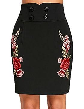 Falda Recta Con Bordados Mujer LHWY, Falda De Cintura Alta Con Botones EláStica Mini Falda Verano