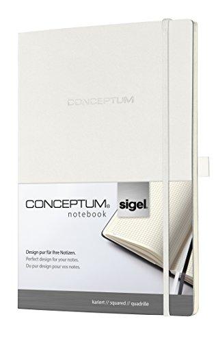 Sigel CO214 Notizbuch, ca. A4, kariert, Softcover, weiß, CONCEPTUM - weitere Farben