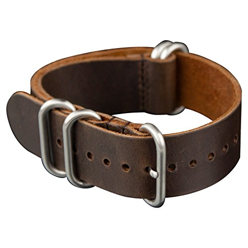 Infantry Uhrenarmband Uhrband Uhrenband Vintage Braun Leder Uhrarmband Zulu Watch Strap 22mm (Seiko-uhr-handgelenk-band-pins)