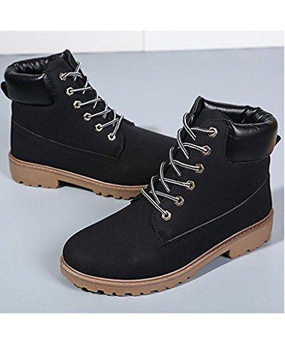 Minetom Bottines À Lacets Femme Hiver Bottines de Neige Randonnée en Plein air Plateforme Chaussures Noir