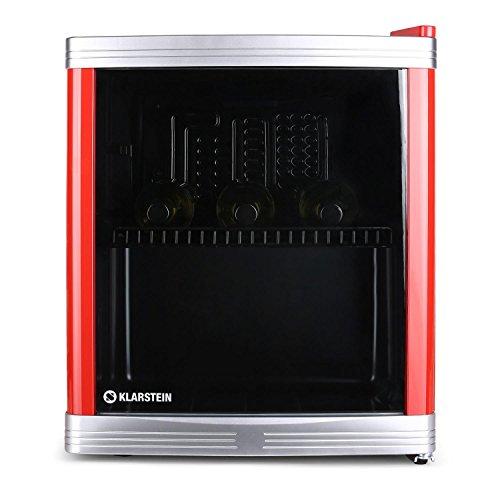 Klarstein • Coollocker • Minibar • Mini-Kühlschrank • Getränkekühlschrank • B • 46 Liter • 43 x 50 x 48 cm (BxHxT) • flüsterleise im Betrieb • 1 Regaleinschub • wechselbarer Türanschlag • 5-stufiger Temperaturregler • Kapazität: bis zu 15 Flaschen • rot