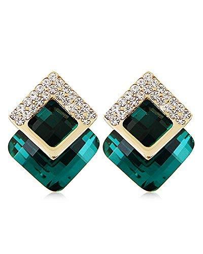 Shining Diva Fashion Green Crystal Stylish Stud Tops Earrings for Women and Girls (8776er)
