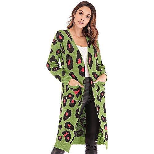 dedae0e42 KINDOYO Suéter de Mujer - Otoño Casual Leopard Cardigan Mujeres de Punto  Camisetas de Manga Larga