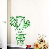 WSLIUXU Adesivi murali motivo cactus Adesivi carta da parati in pvc Accessori moda moderna Accessori decorazione casa Soggiorno Adesivi murali camera da letto Giardino domestico Marrone L 43cm X 62cm