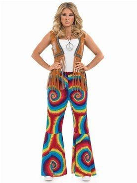 Ladies Multi-coloured Hippie Tye Dye Flares with Swirls. Sizes 8-10