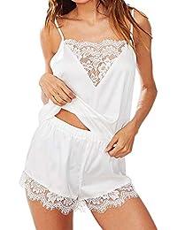 9b9a10d84a MEIbax Lencería Sexy para Mujeres Ropa de Dormir Satén Seda Babydoll Lace  Up Pijamas de Noche