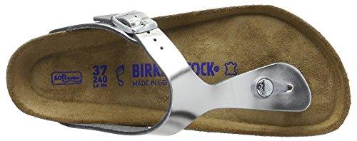 Birkenstock - Gizeh Leder, Infradito Donna Argento (Metallic Silver)