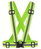 Feoya Gilet de Sécurité Réglable Gilet Réfléchissant Elastique Veste Haute Visibilité Ceinture Ajustable Homme Femme Adolescent Unisexe pour Vélo/Moto/Jogging/Course/Marche(Fluo Jaune)