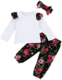 SHOBDW Girls Clothing Sets, 1Set Toddler Infant Baby Girls Fashion Floral Clothes Tops + Pants + Headband Outfits Sets