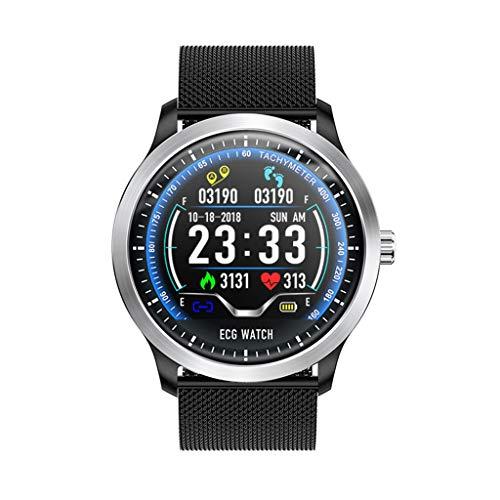 FYK&&SW Intelligente Uhr Smartwatch mit EKG-EKG-Anzeige EKG-Herzfrequenzmesser Blutdruck Smartwatch, schwarzes Stahlband