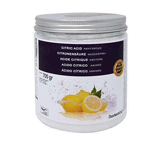 NortemBio Zitronensäure 700 g, Reine Premiumqualität, Wasserfrei Pulver, ökologischen Produktion.