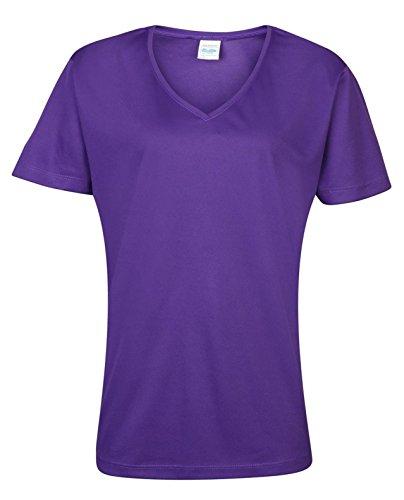 AWDis pour femme adulte Cool Cool T-Shirt col V Touchlines T-Shirt à manches courtes pour femme Violet - Violet