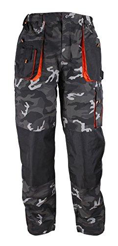 Stenso Emerton - Pantaloni in Stile Camouflage da Lavoro multitasca Extra Resistenti - Uomo - Grigio Scuro/Nero/Arancione - 58