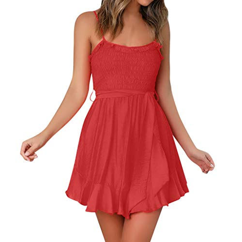 Damen Schlinge Dress Sommer Halfter ärmelloses kurzes Dress Mode sexy einfarbig Schnürung Mini Dress Sonojie