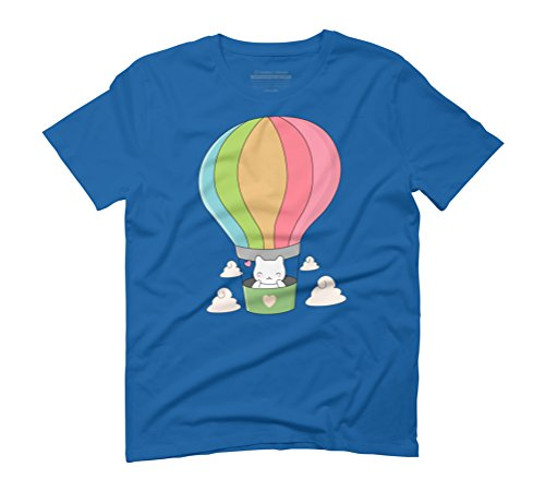 Cute Cat In Hot Air Balloon Men's Graphic T-Shirt - Design By Humans Royal Blue