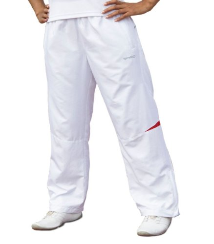 Sportstyle Trainingshose, Weiss-Rot, Micro Lite, Fitness Jogginghose Anabol Cracker (L)