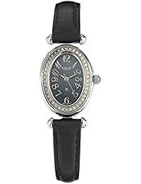 FOCE Black Round Crystal Studded Analog Mother of Pearl Wrist Watch for Women with Black Genuine Leather Strap - F457LSL-BLACK