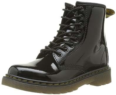 Dr. Martens Delaney, Boots mixte enfant - Noir (Black Patent Lamper) - 28 EU ( 10 UK )