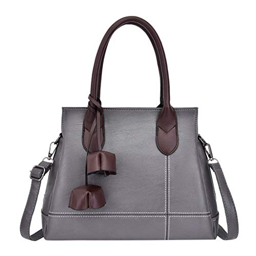 Tohole Damen Handtasche Groß Leder Schultertasche Frauen UmhäNgetasche Handtaschen Taschen Moderne Gross Retro Stil Tragetaschen Handbag (grau,1PC)