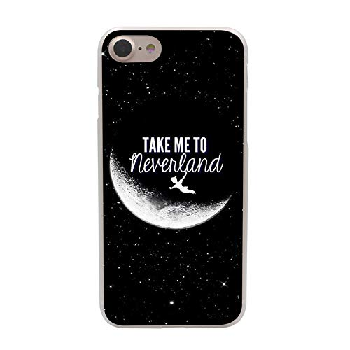 White Black Tinkerbell iPhone 6 Plus Sized Case Bigger Screen Galaxy Themed Tinker Bell 6S Plus Cover Animated Movie Theme Half Moon Stars Night View Fairy Tale Transparent Siding, Hard Plastic