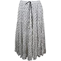 Mogul Interior Womens Boho Skirt White Printed Cotton Flare Gypsy Retro Maxi Skirts