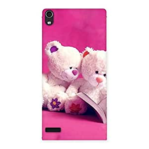 Special Twin Teddy Multicolor Back Case Cover for Ascend P6