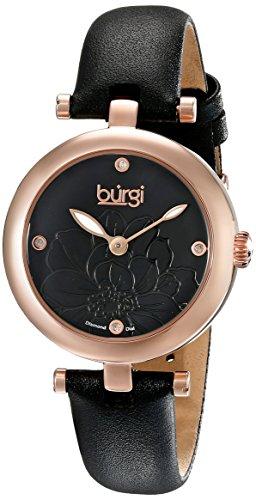 Burgi Women's Pure Essence Diamond Watch with Black Flower Dial BUR128BKR