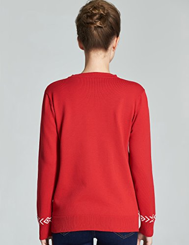 Camii Mia Pull Noël pour Femme Col Rond Pullover Fantaisie Hiver Rouge