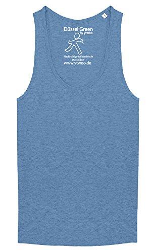 Damen Tank Top aus 100% Biobaumwolle mit Racerback, Ärmellos und tiefer Rundhalsausschnitt, Damen Top Bio, Top Shirt (L, Mid Heather Blue) - Blue Green Heather