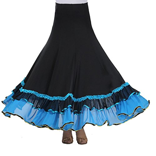 Byjia Frauen Rock Langes Swing Kleid Modern Waltz Tango Standard Ballroom Kleid Flounce Röcke Skater Rock Waltz Wettbewerb Party . Blue . F (Kleid Länge Waltz)