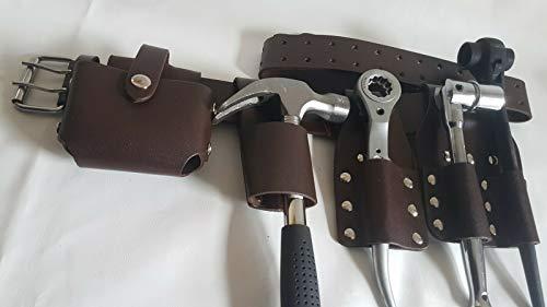 Werkzeuggürtel für Gerüstbau, Leder, 5 in 1, Braun