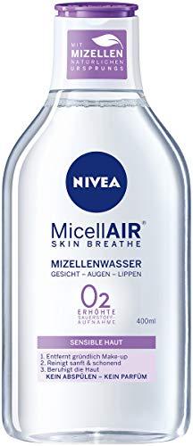 NIVEA MicellAIR Skin Breathe Mizellenwasser für sensible Haut im 4er Pack (4 x 400 ml), All-in-1 Make-up Entferner für erhöhte Sauerstoffaufnahme, Mizellen Reinigungswasser für 0 % Produktrückstände