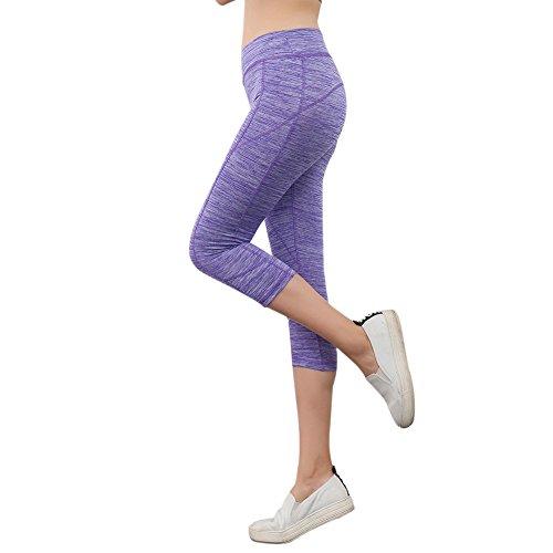 EXIU Femmes Physique Leggings Mince Yoga Fonctionnement Des Pantalons de Sport Violet