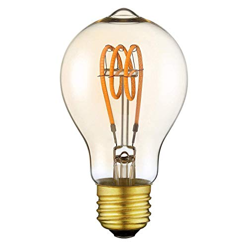 Vintage Edison LED Lampe A19 Dimmbare Dekorative Leuchte Flexible LED Glühlampe, E27 Schraubsockel, Warmweiß 2200K, 4W Entspricht 25W, 220V, Gelb (1 Pack) - Edison-schraubsockel