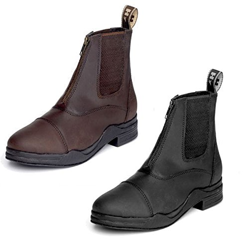 Y-H HY gewachstes Leder Reißverschluss Jodhpur Shorts Leder Stiefel - Braun, 7 -