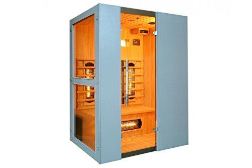 Levi 3 Fullspektrum 3 Personen Infrarotkabine & Infrarotsauna / 2400 Watt / Infrarot Wärmekabine und viele Extras (Strahler IR-A, IR-B und IR-C) FULL SPEKTRUM