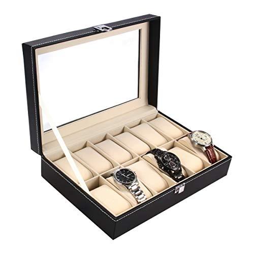 Ohuhu scatola porta orologi per 12 orologi box storage con coperchio in vetro nero in similpelle, 12-scomparto scatola porta orologi in cuoio tenere gli orologi in ordine - nero