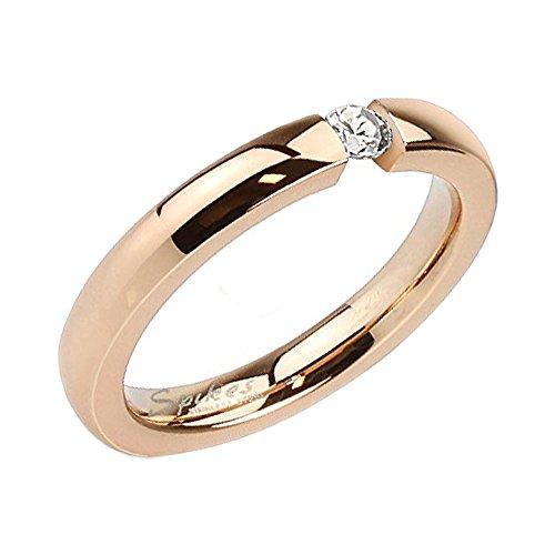Piersando Damen Ring Verlobungsring Edelstahl mit weißem Kristall Stein in Diamant Form Damenring Trauring Rosegold Rose Gold Vergoldet Größe 56 (17.8)