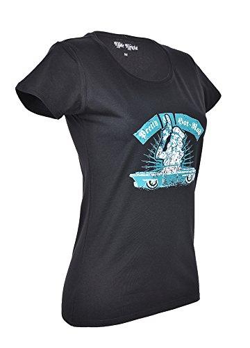 Killer Kirsche Blue HOT ROD Pretty Pin Up Oldschool SHIRT - Blk Rockabilly Schwarz mit blau-weißem Motiv
