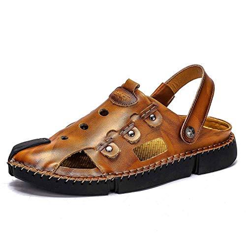 Vaxiuja-shoes Sandali Piatti Traspiranti Sandali da Passeggio Camminare da Pescatore Pantofola Punta Chiusa in Pelle Antiscivolo Scarpe da Spiaggia Estiva Traspirante Scarpe da Uomo